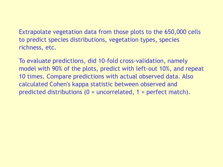 Extrapolate vegetation data from those plots to the 650,000 cells to predict species distributions, vegetation types, species richness, etc.