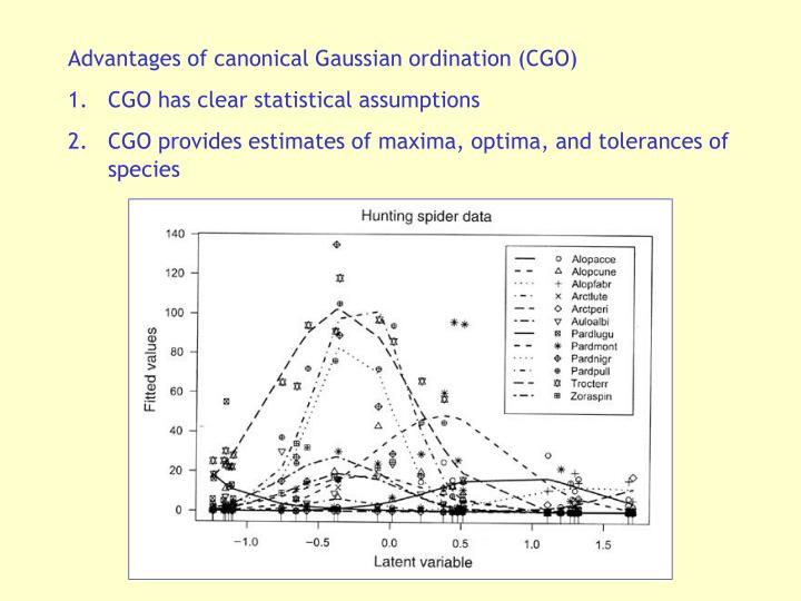 Advantages of canonical Gaussian ordination (CGO)