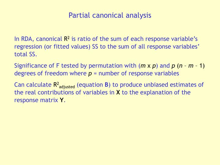 Partial canonical analysis