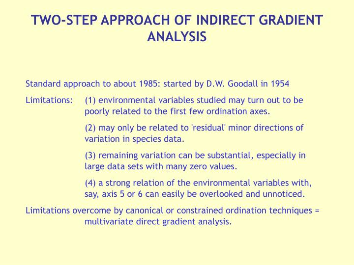 TWO-STEP APPROACH OF INDIRECT GRADIENT ANALYSIS