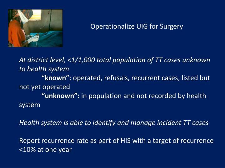 Operationalize UIG for Surgery