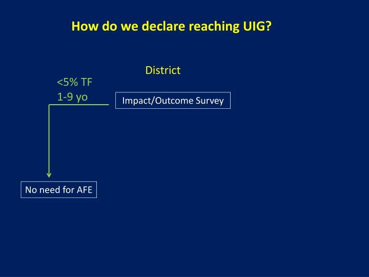 How do we declare reaching UIG?