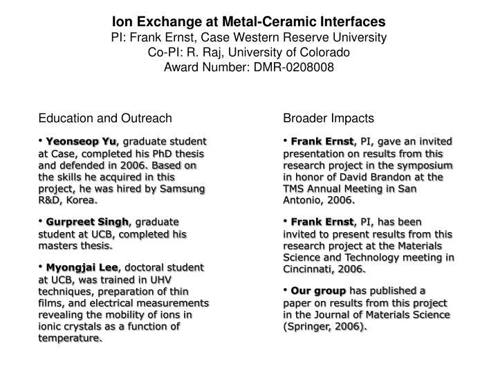 Ion Exchange at Metal-Ceramic Interfaces