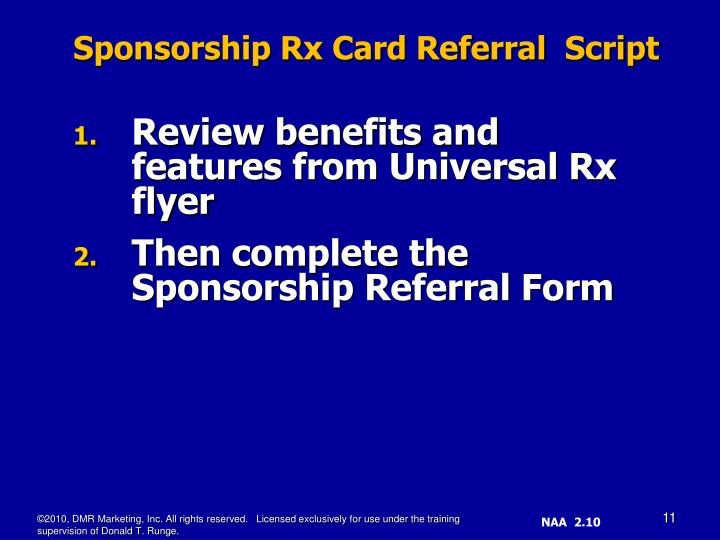 Review benefits and features from Universal Rx flyer
