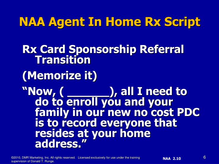 Rx Card Sponsorship Referral Transition