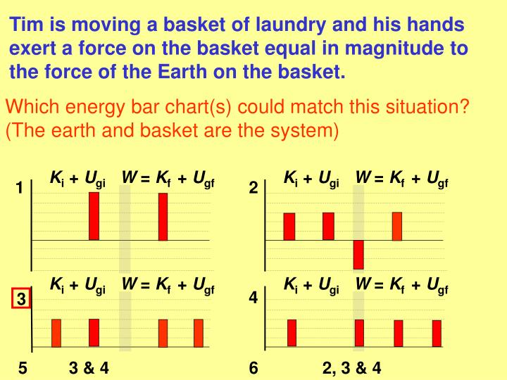 Tim is moving a basket of laundry and his hands exert a force on the basket equal in magnitude to the force of the Earth on the basket.