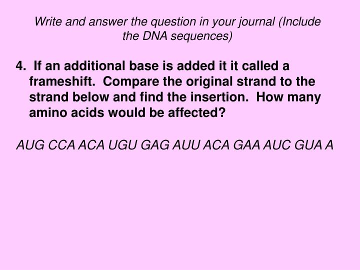 Write and answer the question in your journal (Include the DNA sequences)