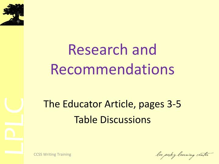 Research and Recommendations