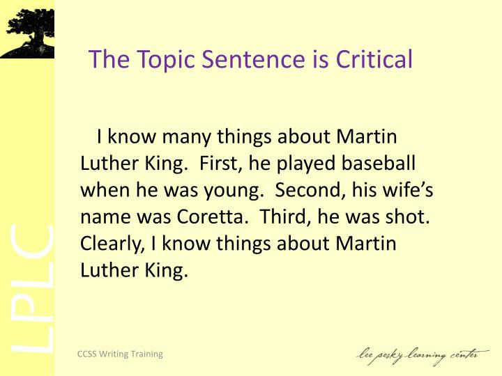 The Topic Sentence is Critical