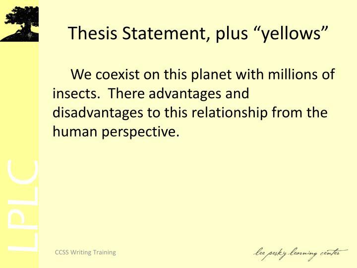 "Thesis Statement, plus ""yellows"""