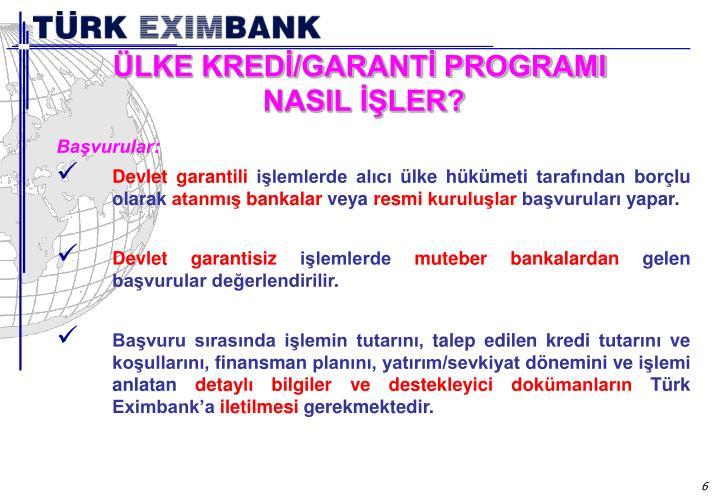 ÜLKE KREDİ/GARANTİ PROGRAMI