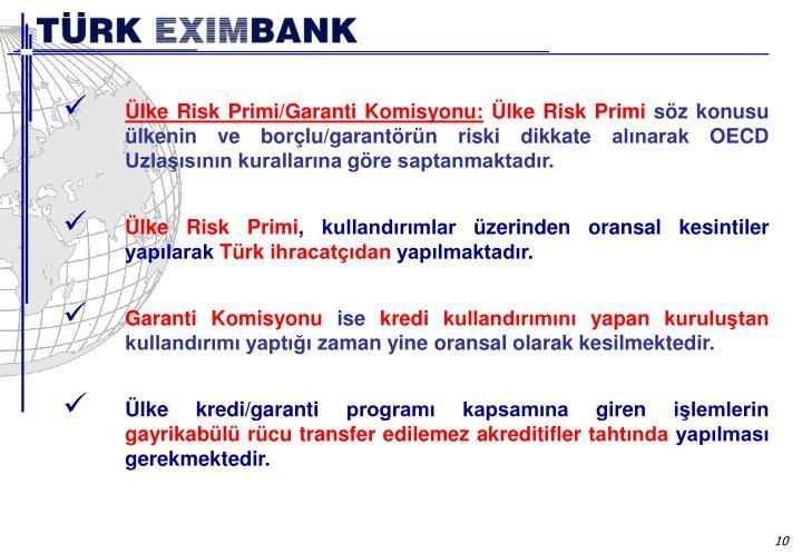 Ülke Risk Primi/Garanti Komisyonu