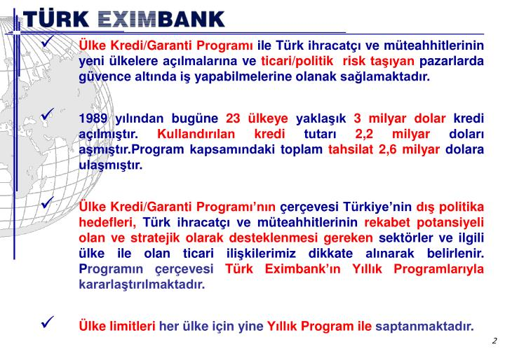 Ülke Kredi/Garanti Programı