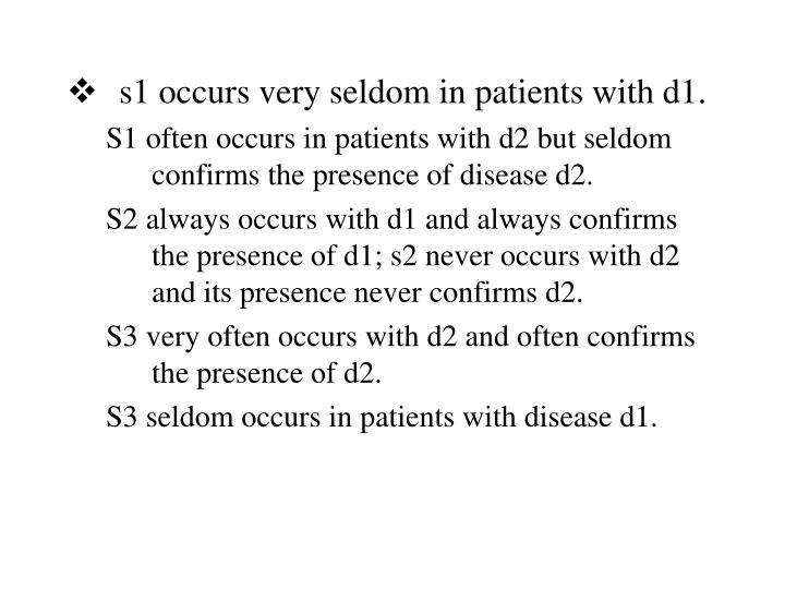 s1 occurs very seldom in patients with d1.