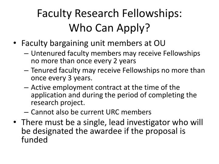 Faculty Research Fellowships: