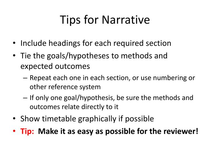 Tips for Narrative