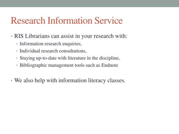 Research Information Service