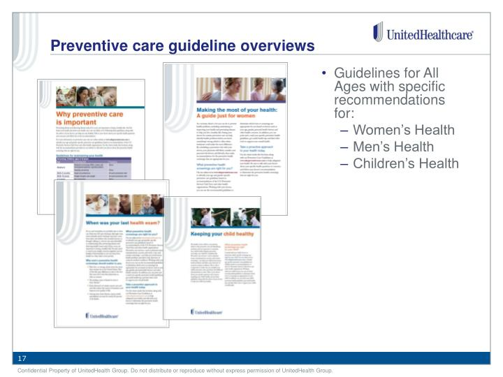 Guidelines for All Ages with specific recommendations for: