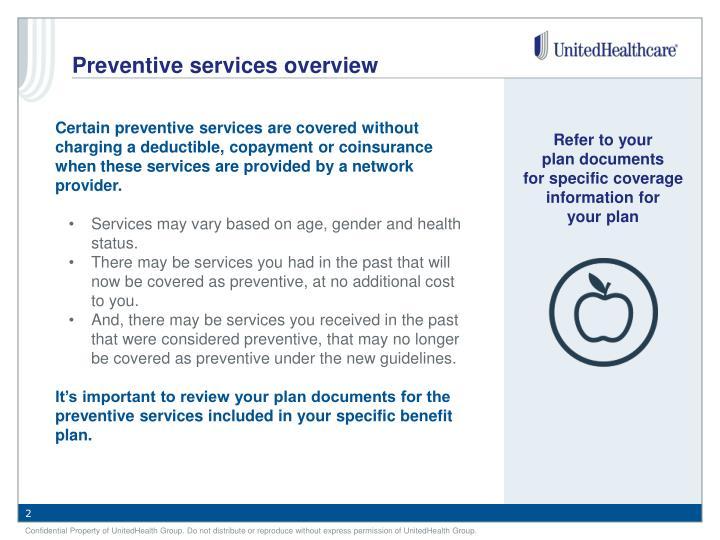 Preventive services overview