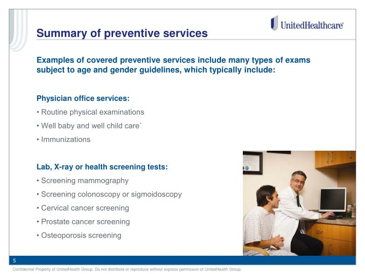 Summary of preventive services