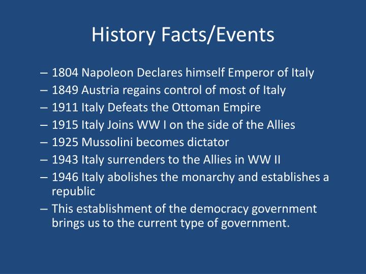 History Facts/Events