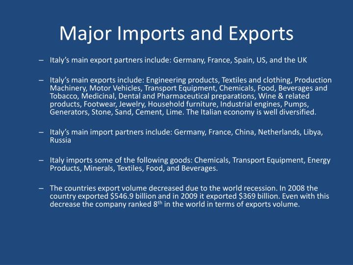 Major Imports and Exports