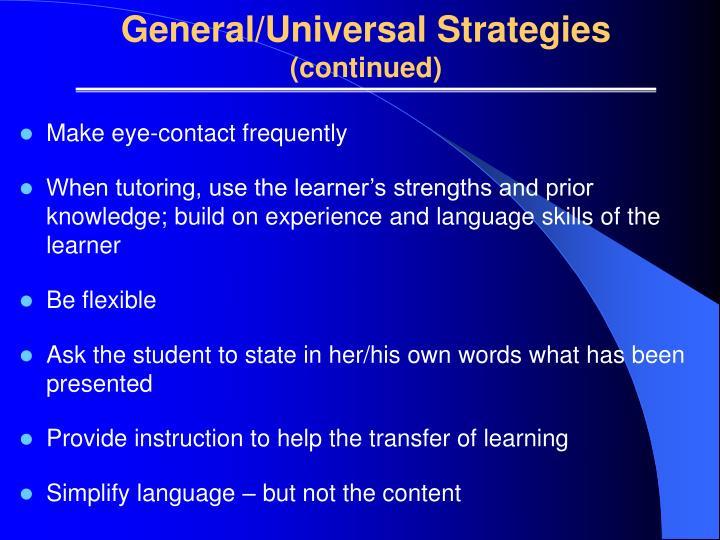General/Universal Strategies