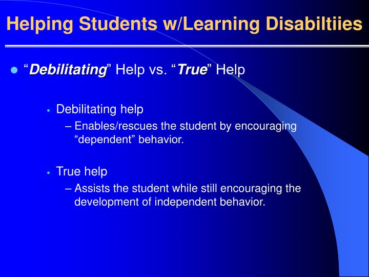 Helping Students w/Learning Disabiltiies