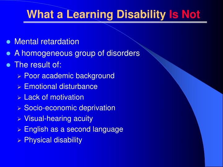 What a Learning Disability