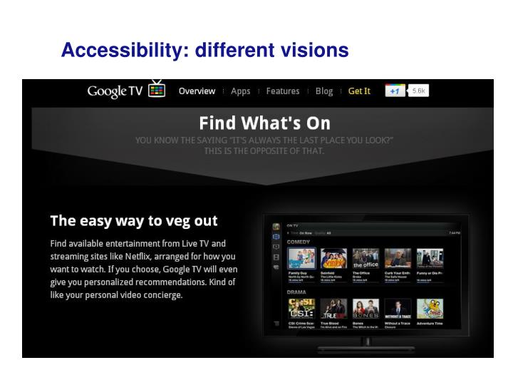 Accessibility: different visions