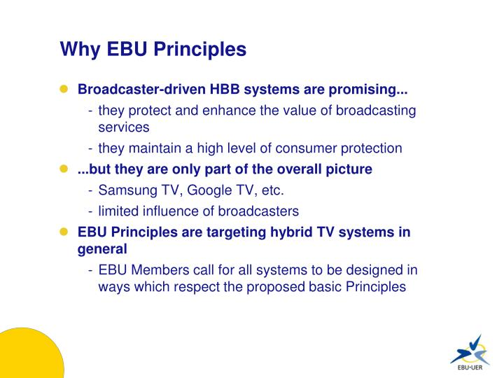 Why EBU Principles