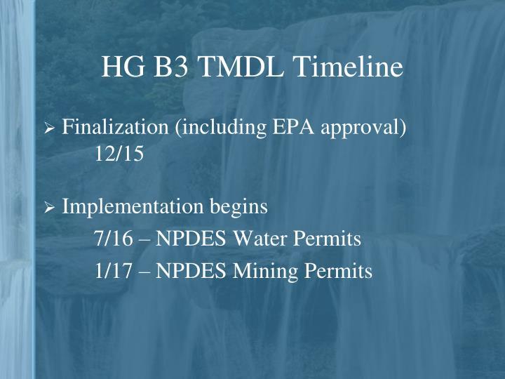 HG B3 TMDL Timeline