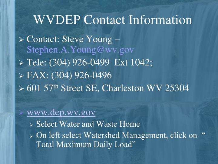WVDEP Contact Information