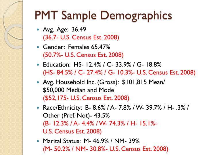 PMT Sample Demographics