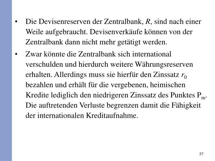 Die Devisenreserven der Zentralbank,