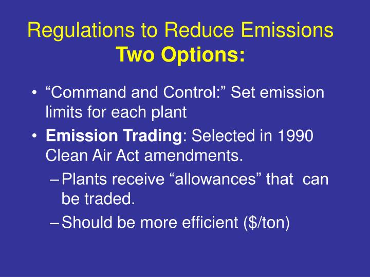 Regulations to Reduce Emissions
