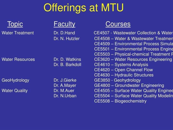 Offerings at MTU
