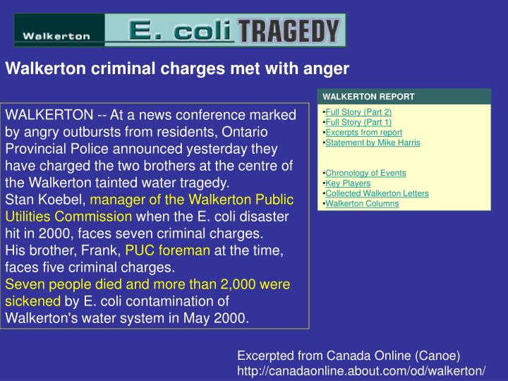 Walkerton criminal charges met with anger