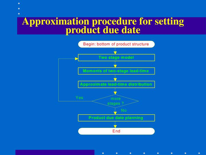 Approximation procedure for setting product due date