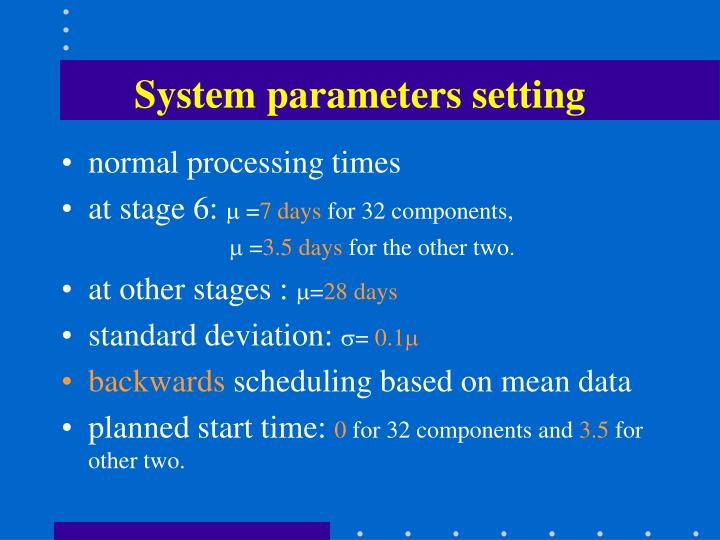 System parameters setting