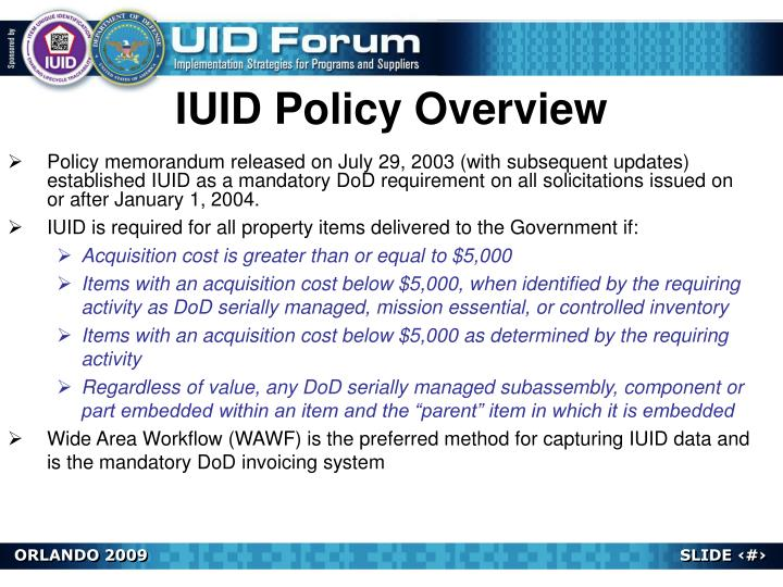 IUID Policy Overview