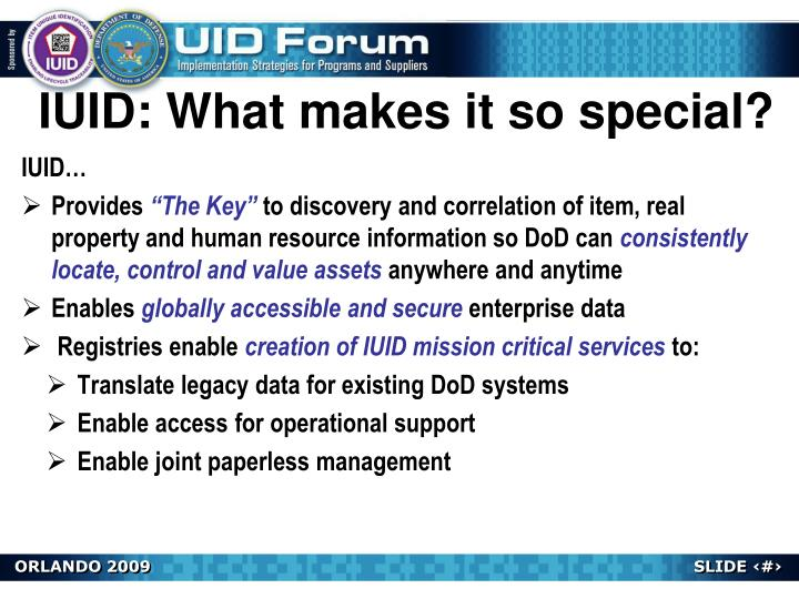IUID: What makes it so special?