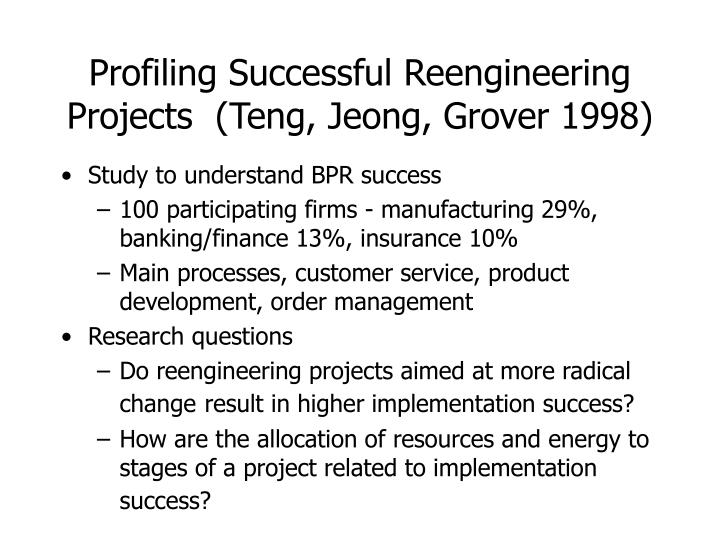 Profiling Successful Reengineering Projects  (Teng, Jeong, Grover 1998)