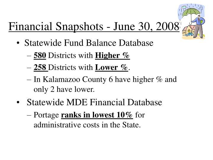Financial Snapshots - June 30, 2008