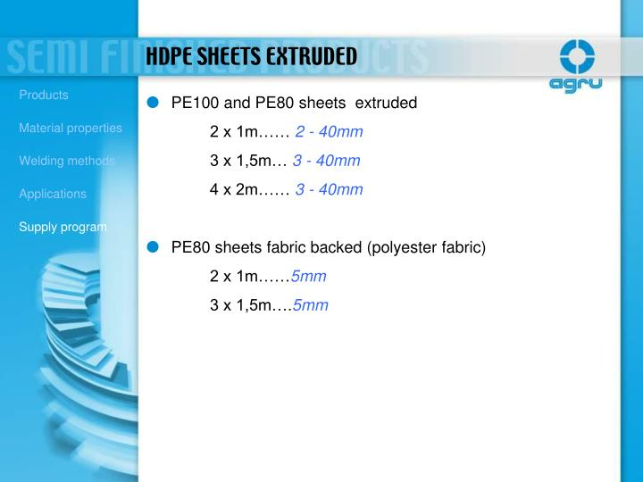 PE100 and PE80 sheets  extruded