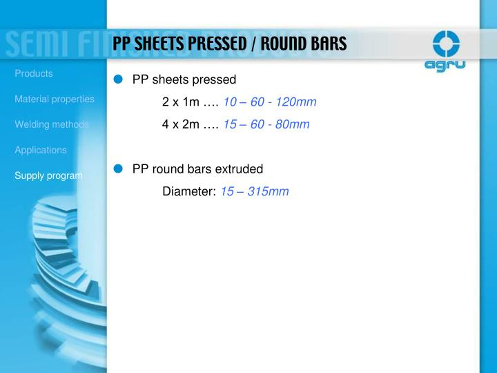 PP sheets pressed