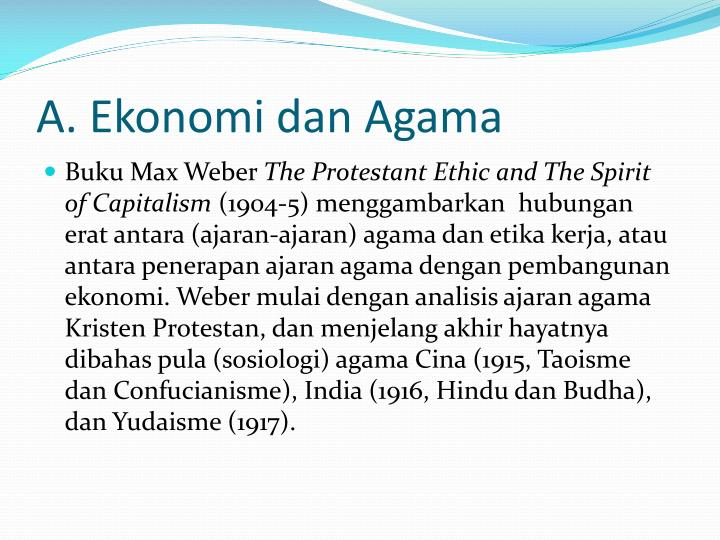A. Ekonomi dan Agama