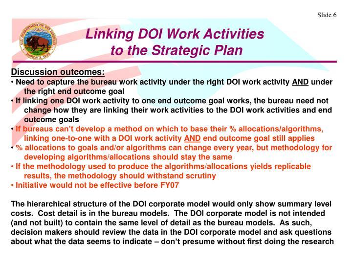 Linking DOI Work Activities