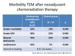 morbidity tem after neoadjuvant chemoradiation therapy