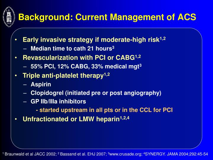 Background current management of acs